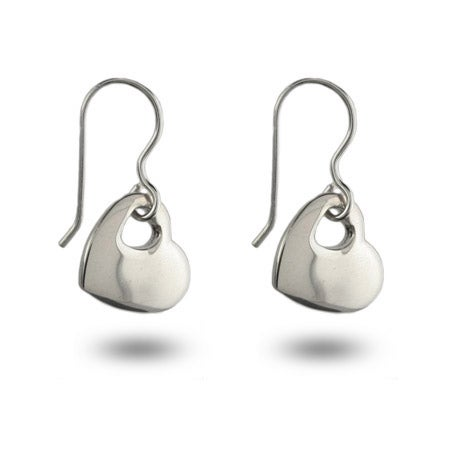 Designer Style Sterling Silver Solid Heart Dangle Earrings | Eve's Addiction®