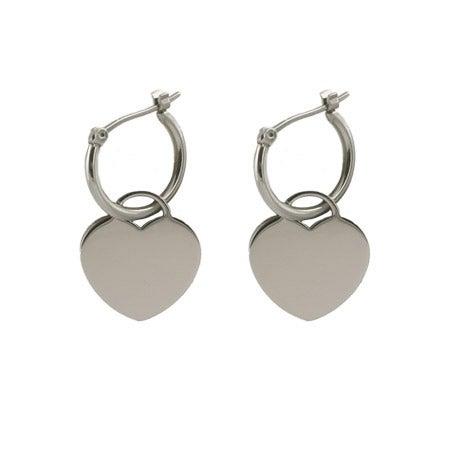 Designer Style Engravable Heart Tag Earrings | Eve's Addiction®