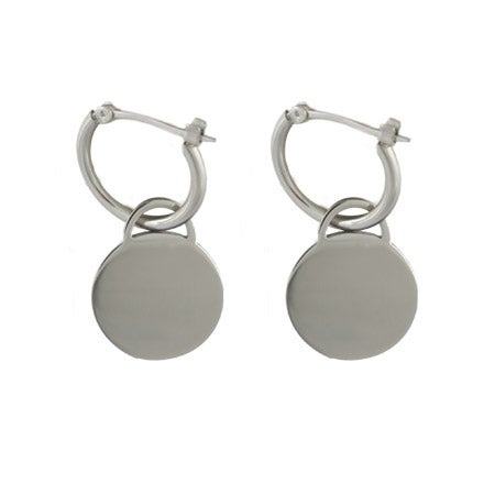 Designer Style Engravable Round Tag Earrings | Eve's Addiction®