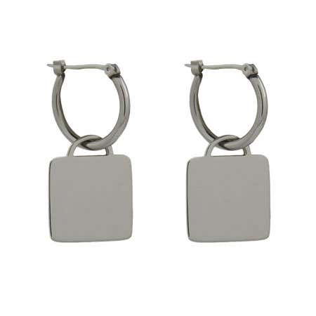 Designer Style Engravable Square Tag Earrings | Eve's Addiction®