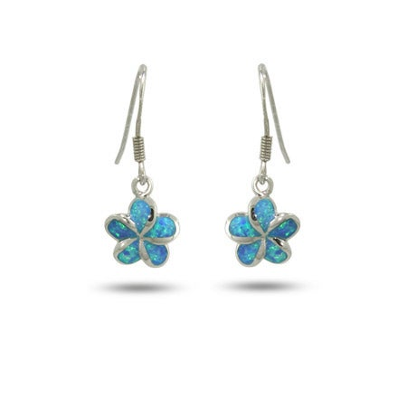 Dangling Sterling Silver and Blue Opal Plumeria Flower Earrings | Eve's Addiction®