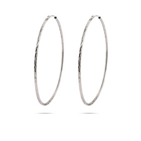 Diamond Cut Sterling Silver Continuous Hoop Earrings