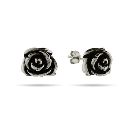 Sterling Silver Rose Stud Earrings | Eve's Addiction®