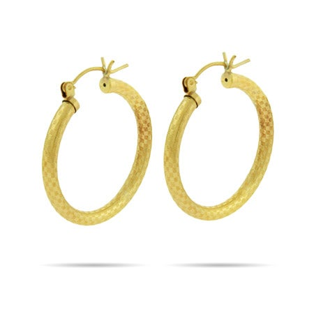 "14k Gold Filled 1"" Patterned Hoop Earrings 