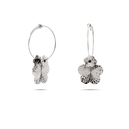 Shimmering Silver Flower and Onyx Bead Silver Hoops | Eve's Addiction®