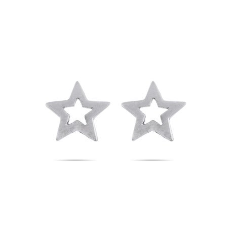 Star Stencil Stud Earrings in Sterling Silver | Eve's Addiction®