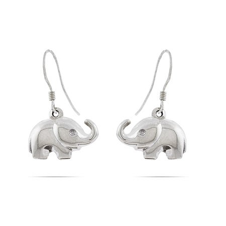 Sterling Silver Elephant Dangle Earrings | Eve's Addiction®