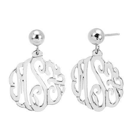 Sterling Silver Custom Monogram Earrings