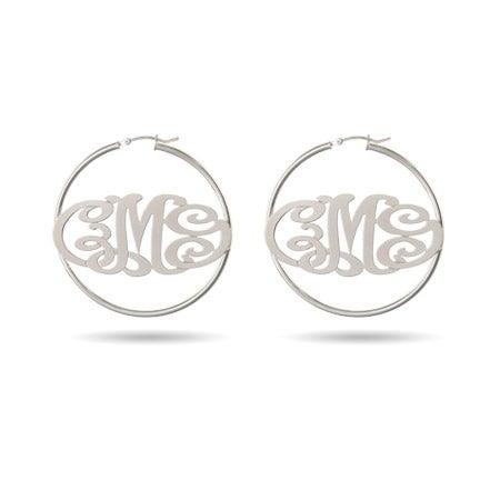 Monogram Hoop Earrings in Sterling Silver | Eve's Addiction