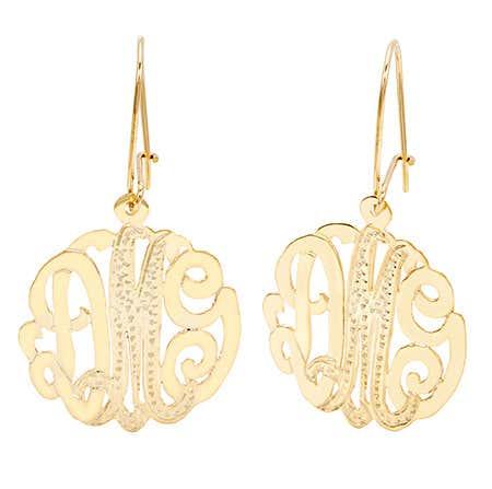 Gold Vermeil Diamond Cut Monogram Earrings | Eve's Addiction®