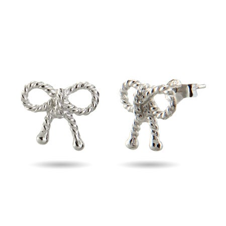 Designer Style Silver Bow Earrings | Eve's Addiction®