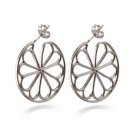 Designer Style Sterling Silver Flower Hoop Earrings | Eve's Addiction®