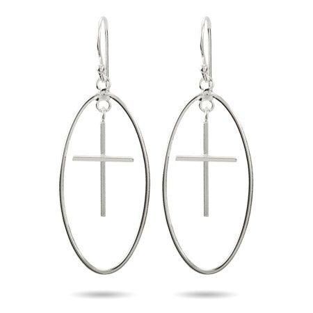 Sterling Silver Oval Dangling Cross Earrings | Eve's Addiction®