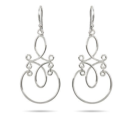 Scroll Design Sterling Silver Dangle Earrings | Eve's Addiction®