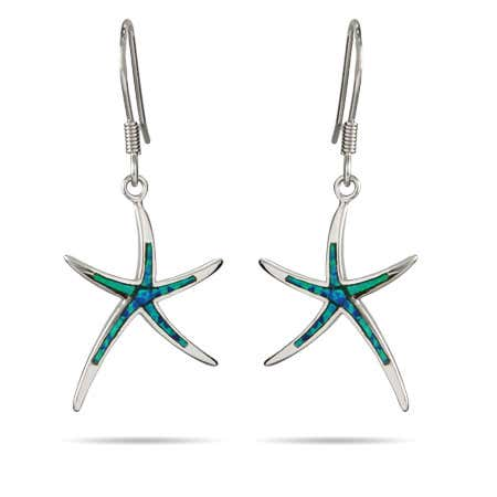 Sterling Silver Opal Inlay Starfish Earrings | Eve's Addiction®