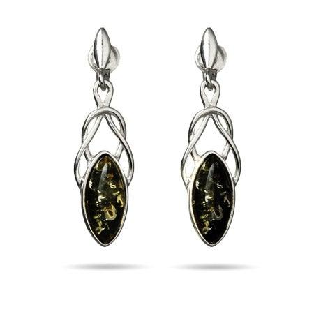 Green Baltic Amber Marquise Cut Celtic Drop Earrings