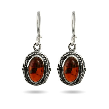 Victorian Style Oval Silver Baltic Amber Earrings