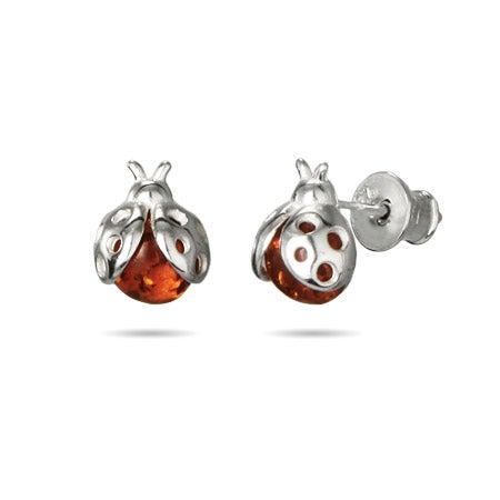 Baltic Amber Ladybug Earrings