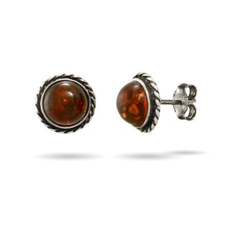 Genuine Baltic Amber Cabled Stud Earrings | Eve's Addiction®