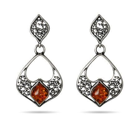 Baltic Amber Flower Marquise Drop Earrings