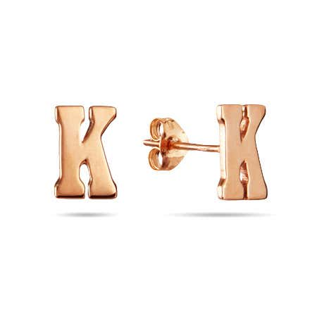 display slide 1 of 1 - Rose Gold Plated Initial Stud Earrings  - selected slide