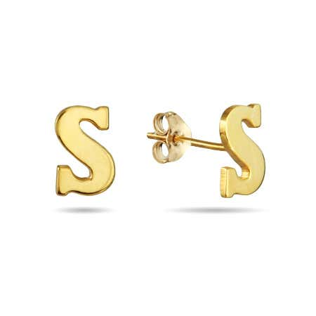 Gold Plated Initial Stud Earrings