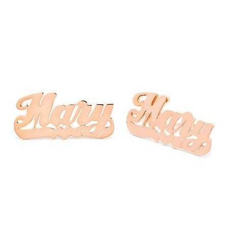 Rose Gold Vermeil Custom Nameplate Stud Earrings