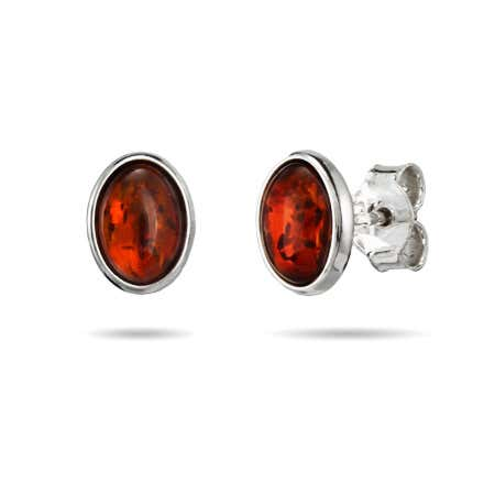 Oval Cut Sterling Silver Amber Stud Earrings | Eve's Addiction®