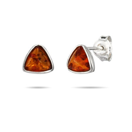 Triangle Cut Sterling Silver Amber Stud Earrings | Eve's Addiction®
