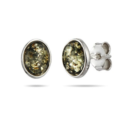 Green Amber Oval Stud Earrings in Sterling Silver | Eve's Addiction®