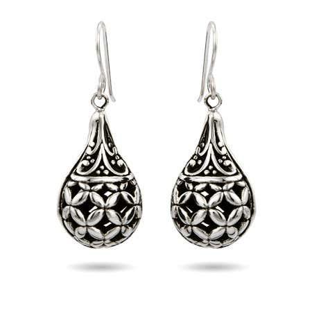 Sterling Silver Ornate Bali Teardrop Earrings | Eve's Addiction®