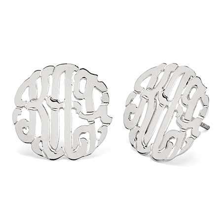 Sterling Silver Monogram Stud Earrings