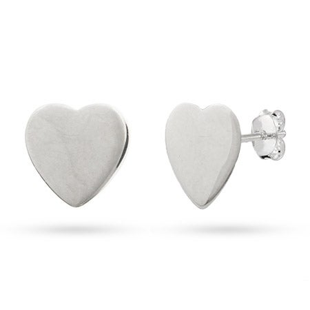 Engravable Sterling Silver Heart Tag Earrings | Eve's Addiction®