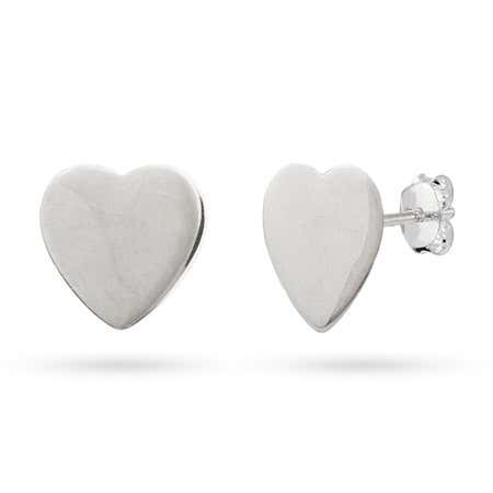 Engravable Sterling Silver Heart Tag Earrings   Eve's Addiction®