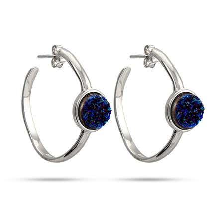 Sterling Silver Blue Drusy Hoop Earrings | Eve's Addiction®