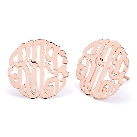 Rose Gold Vermeil Custom Monogram Stud Earrings