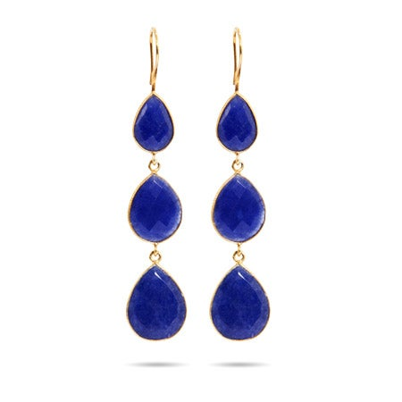 Gold Vermeil Genuine Blue Quartz Peardrop Dangle Earrings | Eve's Addiction®