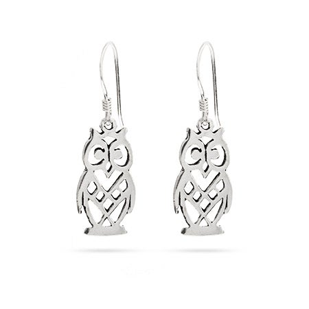 Dangle Owl Sterling Silver Earrings | Eve's Addiction