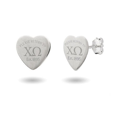 Return to Chi Omega Heart Earrings in Sterling Silver | Eve's Addiction®