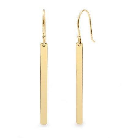 Designer Inspired Gold Dangling Bar Earrings | Eve's Addiction®