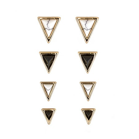 Meteora Pyramid Stud Set in Black & Gold by House of Harlow 1960