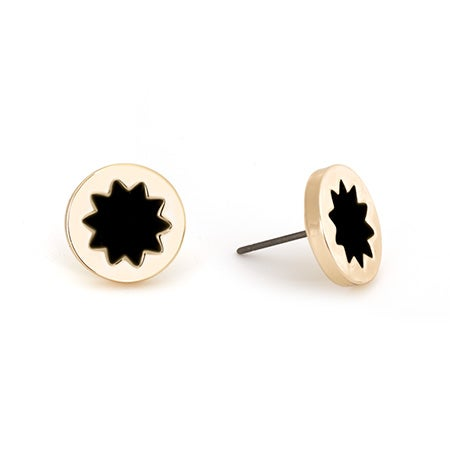 Petite Round Gold Studs with Sunburst Design in Black & Gold by House of Harlow 1960