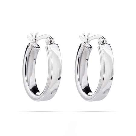 "Sterling Silver 3/4"" Oval Hoop Earrings"