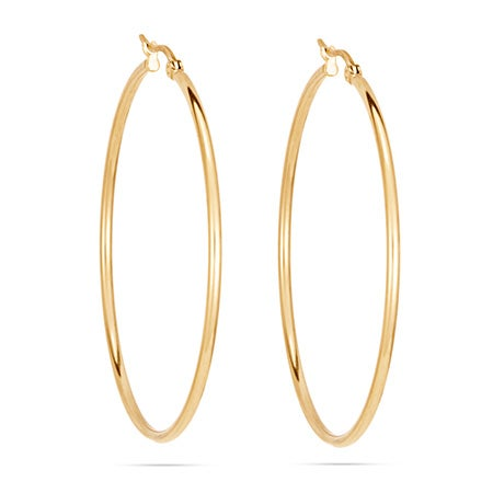 """2"""" Classic Gold Stainless Steel Hoop Earrings   Eve's Addiction®"""