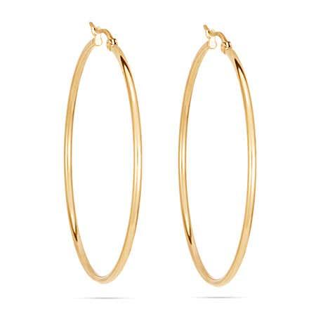 """2"""" Classic Gold Stainless Steel Hoop Earrings"""