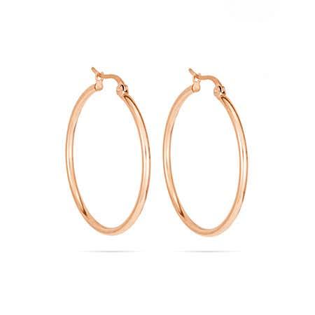 1.25 Inch Rose Gold Plated Hoop Earrings