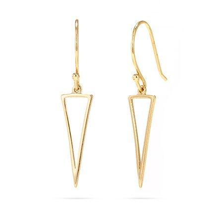Gold Vermeil Triangle Outline Drop Earrings | Eve's Addiction®