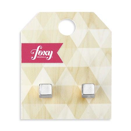 Foxy Cubic Earrings in Silver