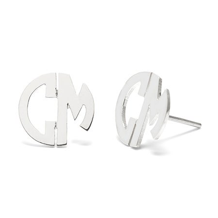 Sterling Silver 2 Initial Round Block Stud Earrings