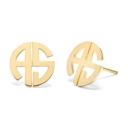 Gold Plated 2 Initial Round Block Cut Out Stud Earrings
